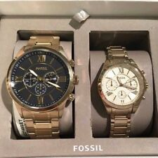 FOSSIL SET OF 2 HIS & HERS GOLD TONE,ROMAN #'S,CHRON. BRACELET WATCH BQ2145SET