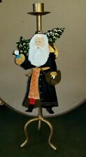 """Vintage Metal Santa Claus Taper Candle Stick Holder Painted Tall 18"""" t Christmas"""