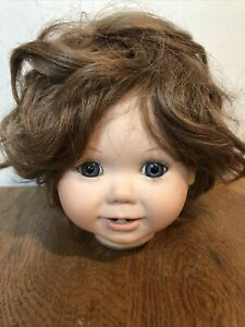 Porcelain Doll Head  Brown Hair Blue Eyes Parts Make Restore Unmarked