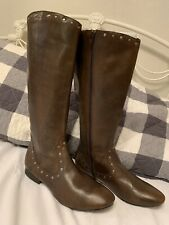 BORN BOOTS TALL STUDS WOMENS BROWN Size 9 M EUC