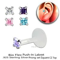 "16G 1/4""-5/16"" Bio Flex Push-In 925 Silver Prong Set 3mm Square CZ Labret Tragus"