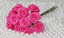 12 Diorröschen Satinröschen Rosen Hochzeit pink Shabby Stoffrosen Röschen