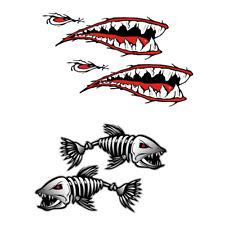 2 Paar Hai Mund u0026 Skelett Kanu Kajak Aufkleber Fischerboot Grafiken