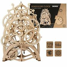 Robotime Mechanical Model Pendulum Clock Building Kits Wooden Toy for Adult Kids