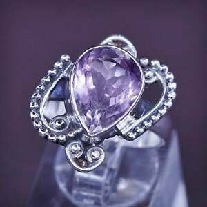 Size 8.5, vtg Sterling 925 silver handmade ring w/ teardrop amethyst N beads