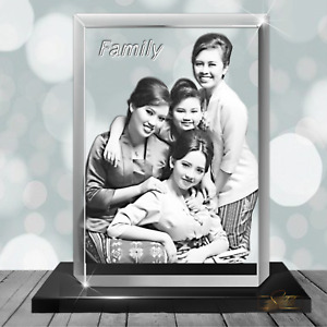 Family Christmas Gift Sets  - 3D Photo Glass Crystal Block - Engraved Glass Gift