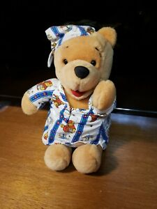 Disney Plush Bedtime WINNIE THE POOH in Pooh Pajamas / Nightgown Night Cap