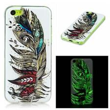 Feather Pattern TPU Gel Cover Glow in the Dark Phone Case for Apple iPhone 5C