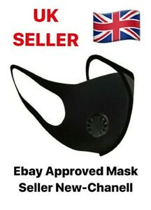 2 X BLACK FACE MASK WITH FILTER AIR VALVE WASHABLE REUSABLE BREATHABLE UK SELLER