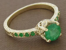 R182 Genuine 9ct Gold Natural EMERALD & Diamond Engagement Ring Butterfly size N