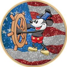 Niue 2017 2$ Steamboat Willie - US Flag - Diamond Dust 1 Oz Silver Coin.500 pcs!