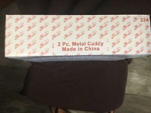 Princess House Fantasia Crystal #334 Chip N Dip Metal Caddy 2 Pc Set