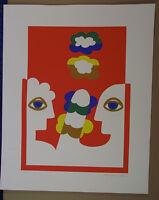 Herbert Schneider, Zwei Figuren vor oragenem Grund, Farblithografie, signiert