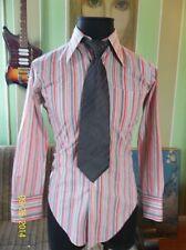 True Vintage 60s 70s Orange and Gray Stripes Long Sleeve Mod Shirt Size S M