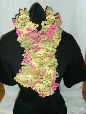 Ladies Hand Knitted Bolero Scarf Pink Green & Yellow Approx 80cm Long