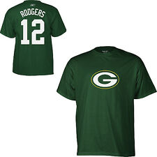 Reebok Green Bay Packers Aaron Rogers Name & Number T-Shirt Players NWT L