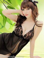 黑色高檔柔紗開襟誘惑情趣內衣性感睡衣   Sexy Black Color Lingerie Sleeping Wear