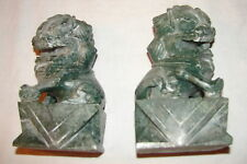 "2 JADE ? BOOK ENDS  VINTAGE ANTIQUE GREEN CARVED PAIR UNIQUE 6 X 3 1/2"" STONE"