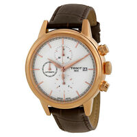 Tissot Carson Automatic Chronograph Silver Dial Brown Leather Mens Watch