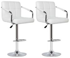 2 White Faux Leather Milan Bar Stool With Arms Top Quality Kitchen Breakfast Bar