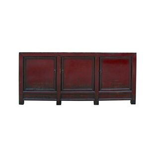 Distressed OxBlood Red Finish High Credenza Console Buffet Table cs5383