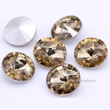 20p 16mm Round/Rivoli pointed foiled back Crystal glass Rhinestones jewels stone