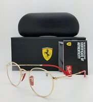 NEW Rayban Ferrari Rx Eyeglasses Frame RX3447VM F029 47mm Gold/Red AUTHENTIC