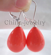 E6229-15x20mm natural pink coral color south sea shell pearl earring-925 silver