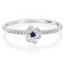 14K Solid White Gold 6 Petals Flower Rose Daisy Sapphire and Diamond Ring Size 8