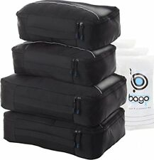 4 Travel Packing Cubes Luggage Suitcase 6 Toiletry Laundry Organizers Black