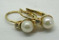Lovely Vintage Pair Of 18 carat Gold Cultured Pearl And Cubic Zirconia Earrings