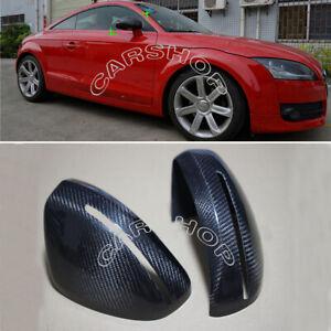 Real Carbon Fiber Door Side Mirror Cover Cap Add On For Audi TT TTS R8 2008-2014