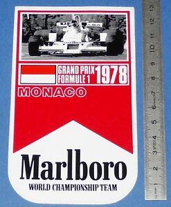 AUTO-COLLANT MONACO 1978 MALBORO WORLD CHAMPIONSHIP TEAM GRAND PRIX F1