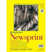 "Strathmore Rough Newsprint Paper Pad 9""x12""-50 Sheets"