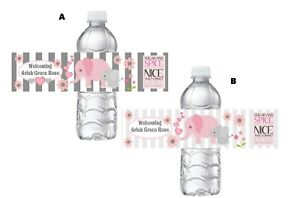 ELEPHANT ELEPHANTS GRAY WHITE BABY SHOWER FAVORS WATER BOTTLE LABELS WRAPPERS