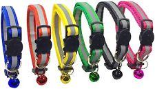 6 Pcs Breakaway Cat Collar Reflective Nylon Strip Bell, Durable