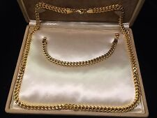 Shiny Yellow Gold Stainless Steel Wheat Chain Long Necklace & Bracelet