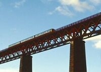 PHOTO  SKY TRAIN CROSSING THE FORTH BRIDGE AT NORTH QUEENSFERRY 1987