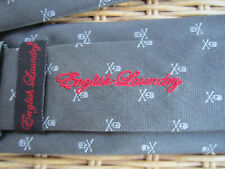English Laundry by Christopher Wicks Gray SKULLS 100% Silk Tie