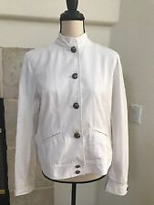Chaps Women's Button Down Light Jacket Shirt Blouse Solid White size L
