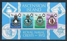 Ascension 1972 Royal Naval Crests M.S.SG158 MNH