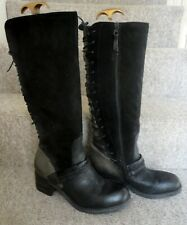 MODA IN PELLE Black & Grey Suede & Leather Knee High Boots Lace Up Back 41 UK8