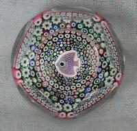 SUPERB & RARE WHITEFRIARS 1976 FISH MILLEFIORI GLASS FACETED PAPERWEIGHT ~ BOXED