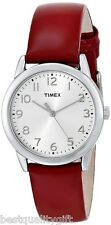 NEW TIMEX RED PATENT SHINY LEATHER BAND,SILVER TONE WATCH-T2P085