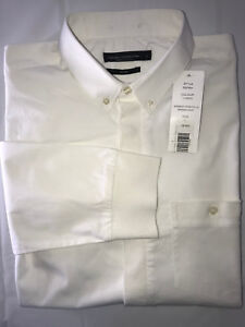 French Connection Men's Large White Slim Fit Wembly Stretch Long Sleeve Shirt
