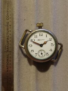 Vintage Antique 1912 Hampden Trench Watch Silverine Offset Crown Fixed Lugs