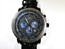 NEW Joshua & Sons Diamond Mother of Pearl Watch Black Leather Band Bracelet