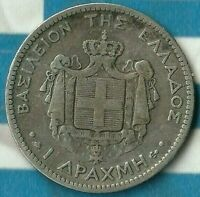 1868 Greece 1 Drachma~ 83.5% Silver~ Good Condition~ Only 480,000 Minted