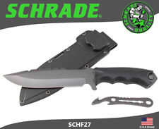 """Schrade Fixed 6.6"""" Titanium Coated Blade Knife With Pry Tools Pouch SCHF27"""