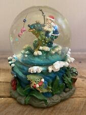 Christmas Musical Glitter Water Globe Fishing Santa Clause Fisherman Ocean